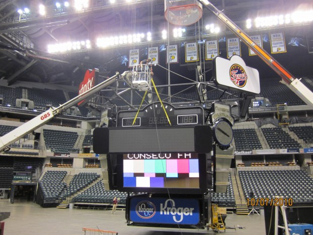 replacement of ad panels on centerhung of nba team with mitsubish led